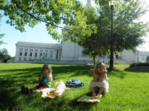 After our Stillwater sojourn, we had one free and open week before school started. We did some fun stuff, like a bus ride downtown to the Capitol for a picnic.