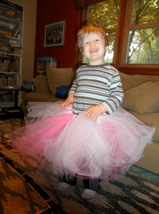 We're obviously pretty gender-neutral around here! Orin had fun dancing in Mimi's Halloween costume
