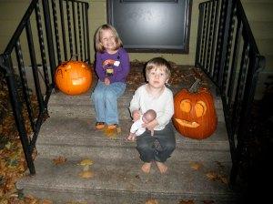 Cute kids, cute jack-o-lanterns
