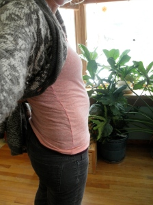 This is the belly at about 20 weeks. It's bigger now, at 23 weeks. Just got out my first pair of maternity pants yesterday.