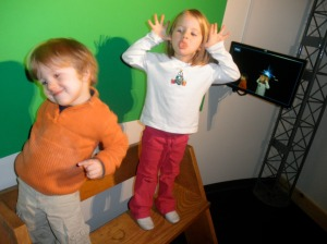 Hooky day! Took the kids to a local Science Center. This was a funny green screen exhibit they had.